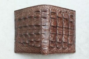 Crocodile Leather Skin Men's Bifold wallet  Genuine Alligator Brown