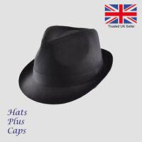 Black Cotton Trilby Vintage Style Fedora Sun Hat