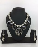 Oxidized Indian Antique Necklace Ethnic Diwali Jewelry Silver Fashion