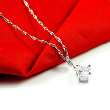 """925 Sterling Silver PL Round Cubic Zirconia CZ Crystal Pendant Necklace 17.7"""""""