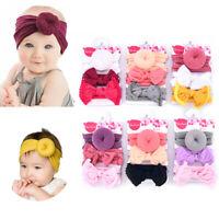 3Pc Newborn Baby Girl Kids Toddler Bow Knot Turban Headband Hair Band Headwrap