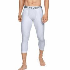 Under Armour UA HeatGear Mens White Sports Gym Training Compression 3/4 Leggings