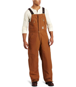 CARHARTT BIB OVERALL 46X34 BROWN QUILT LINED INSULATED ZIP TO WAIST R38 NEW NWT