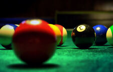 Framed Print - Pool Table & Balls (Picture Poster Snooker Pool 9-Ball Billiards)