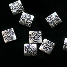 """4 Perles P'tits Carrés Bombés """"Argenté Gravé"""" 11X11 mm"""