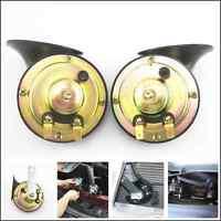 2 pcs Black 12V Loud Dual-tone Snail Electric Horn Level 110dB Car Truck Pickup