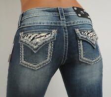 "Miss Me Jeans Glitzy Zebra Black Cow Patch Easy Fit Boot Size 27, Hip 36.5 - 38"""