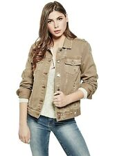 GUESS Women's NEW Taupe Jasmyn Relaxed Fit Fashion Destroyed Denim Jacket Size S