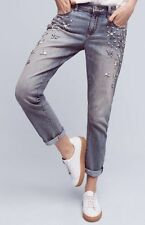 NWT $168 Anthropologie Pilcro Hyphen Boy-Fit Crop Bejeweled Jeans Size 26/27