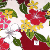 Beautiful Hawaiian Print, Gold Melia & Red Kokio on White, A Trendtex Cotton, BT