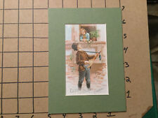 Vintage matted Trade Card -- ESTEY ORGAN CO. boy playing tennis racket guitar