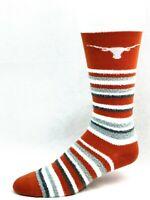 Texas Longhorns For Bare Feet Muchas Rayas Fuzzy Crew Socks