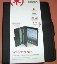 Speck WanderFolio iPad 2/iPad 3rd Gen, Black Leather Cover, magnetic closure NEW