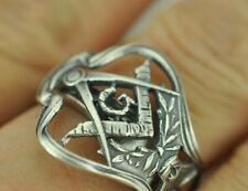 Beautiful 925 Sterling Silver Freemason Masonic Spoon Ring