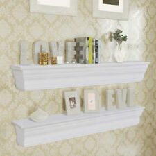 2 Wall Shelves Bookshelf Display Decor Ornament CD Storage Unit White MDF UK