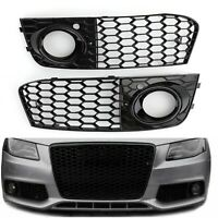 2X Honeycomb Hex Mesh Fog Light Open Vent Grilles Intake For Audi A4 B8 09-12 A3