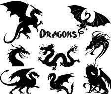Die Cut Outs Silhouette Dragons shapes cards scrapbook Fairy jar crafts