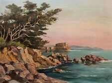 Painting by Artist Harriet Allender  Seascape Cypress Tree Ocean Rocks