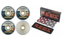 Dynamite Forever 50mm Conical Beer 101 Skateboard Wheels + Bones Reds Bearings