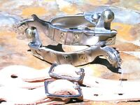Cowboy Western Men's stainless spurs WITH Leather STRAPS