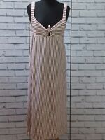 Zara  Midi White Red Stripe Sleeves Dress Size 6