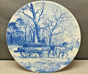 Antique Chunky Decorative Plate delft Chemkefa Horse D 33,5 CM