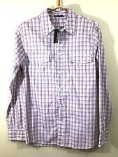 James Perse Men's Size 2 Medium Button Shirt White Red Orange Plaid NEW w/FLAW
