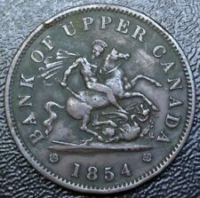 1854 BANK OF UPPER CANADA - ONE PENNY BANK TOKEN - COPPER - Dragon Slayer BR-719