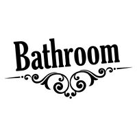 BATHROOM DOOR SIGN STICKER Home Decals Stickers #7021EN-W