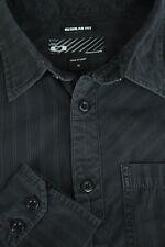 Oakley Men's Black & Gris Algodón de Rayas Poliéster Camisa Informal S PEQUEÑA