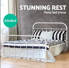 DOUBLE Strong Metal Bed Frame Size Round Tube Base Powder coated steel White