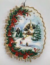 Snowy Church Scene w Red Bells, Holly * Glitter Christmas Ornament * Vtg Img