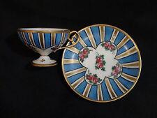 Vintage Hand Painted Striped & Floral Sevres Porcelain Cabinet Cup & Saucer