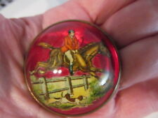 """Antique Intaglio Glass Reverse Painted Dome Horse/Dogs Hunting Scene Brooch-1.5"""""""