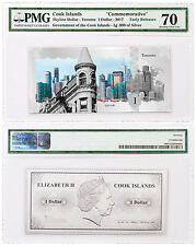2017 Cook Is Skyline Toronto Foil Note 5 g Silver $1 PMG Gem Unc 70 ER SKU48753