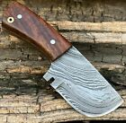 "4.5"" Handmade Damascus Steel  Mini Neck Cleaver Knife ""Rose Wood Handle"""