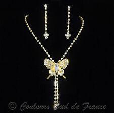 """Parure de Bijoux dorée """"Miss Papillon"""" accessoire mariage soirée cristal clair"""