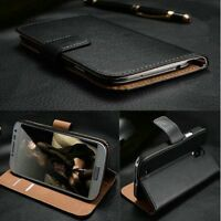 Luxury Genuine Real Leather Flip Case Wallet Cover Stand for Motorola Phones