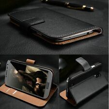 Luxury Real Genuine Leather Case for Motorola Wallet Cover Book Flip
