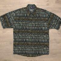 Vintage Bon Homme Mens Hawaiian Shirt Abstract Short Sleeve Size Medium USA Made