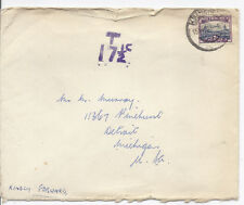 1953 South Africa Cover with Postage Due to Detroit, Michigan*