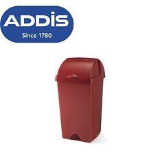 ADDIS 50L GLOSS RED PLASTIC ROLL TOP BIN / DUSTBIN / RUBBISH BIN KITCHEN / HOME