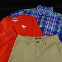 Boy Kids Abercrombie Fitch Polo Ralph Lauren 2 Shirts + Shorts Size Medium 10-12