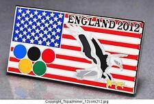 OLYMPIC PINS BADGE 2012 LONDON ENGLAND UK PATRIOTIC USA FLAG & EAGLE DESIGN (S)