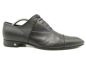 Louis Vuitton Logo Black Leather Cap Toe Oxfords Shoes Men's 8.5 UK / US 9.5
