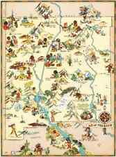 Canvas Reproduction Vintage Pictorial Map of New Mexico Print Ruth Taylor 1935