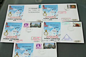 GB/NEPAL - 1976 BRITISH & NEPALESE ARMY EVEREST EXPEDITION - 5 COVERS - 2 SIGNED