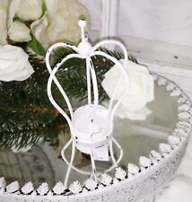 Krone Windlicht Teelichthalter Deko klein weiß Shabby Vintage Landhaus 13x7cm