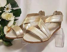 bambina sandali VERA PELLE Fatto Italia Oro 1102 Gr 31