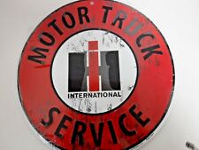 Round International Harvester Motor Truck Service Metal Sign